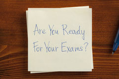 Are You Ready For Exams written on a note. Royalty Free Stock Photography