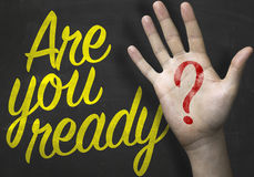 Are You Ready message on blackboard Royalty Free Stock Images