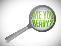 are you ready question under magnify glass Royalty Free Stock Photos