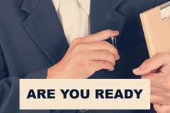 Are you ready quotes - Business man background Stock Photo