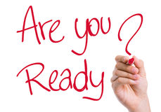 Are You Ready written on the wipe board Stock Photography