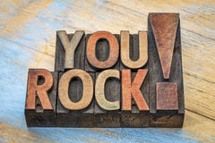 You rock compliment in wood type Royalty Free Stock Photography