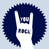You rock poster template. Devil's horns sign Stock Photos