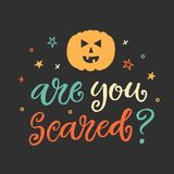 Are You Scared. Halloween Party Poster with Handwritten Ink Lettering Stock Image
