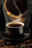 When you see a cup of hot, fragrant, saturated coffee, you become like a cup of coffee in captivity Stock Image