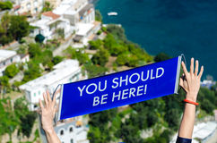 You should be here, in Positano Amalfi Coast stock photo