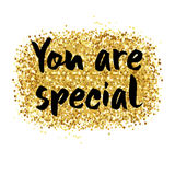 You are special card. You are special to me - romantic quote for valentines day card or save the date card. Inspirational vector typography. Gold glitter brush Stock Photography