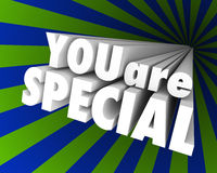 You Are Special 3D Words Unique Different Exceptional. You Are Special words in a striped background to illustrate praise and compliments for being unique Stock Images
