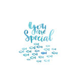 You are special. Lettering and illustration. Marine watercolor drawing. Beautiful aquatic template for cards and prints Royalty Free Stock Photos