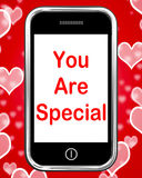 You Are Special On Phone Means Love Romance. You Are Special On Phone Meaning Love Romance Or Idiot Stock Image