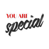You are special quote poster. Red and black typography on white background Royalty Free Stock Photography