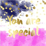 You are special to me - romantic quote for valentines day card or save the date card. Inspirational vector typography. Hand painted brush pen modern Stock Photo