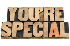 You are special in wood type Royalty Free Stock Image