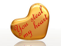 You Steal My Heart In Golden Heart Royalty Free Stock Photography