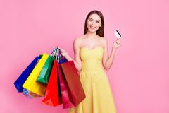 When you are stressed just go shopping! Delightful lady. When you are stressed just go shopping! Portrait of delightful excited joyful cheerful attractive pretty Royalty Free Stock Photo