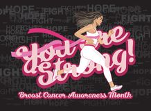You are Strong! Breast cancer awareness month Royalty Free Stock Image