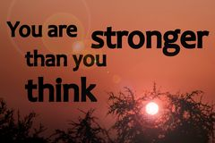 You are stronger than you think - sunrise photo royalty free illustration