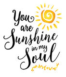 You are Sunshine in my Soul. Inspiring encouragement typography art design poster with sunshine and laurel accent royalty free illustration