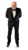 Are you sure?. Are you sure about that, concept of non belief man in tuxedo  on white Royalty Free Stock Images