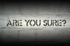 Are you sure. Stencil print on the grunge white brick wall Royalty Free Stock Images