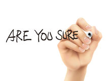 Are you sure words written by 3d hand Royalty Free Stock Photo