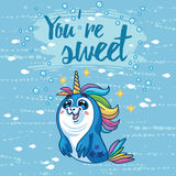 You are sweet illustration. Cute card with cartoon baby Seal. Stock Images