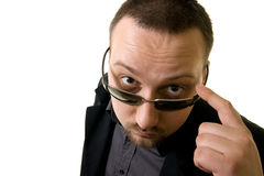 You talking to me. View of man through his spectacles Royalty Free Stock Photos