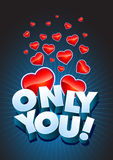 Only You text and hearts royalty free illustration