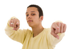 You there!. Young man looking and pointing to you (selective focus Stock Images