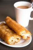 You tiao or Chinese Doughnut with milky tea Stock Image
