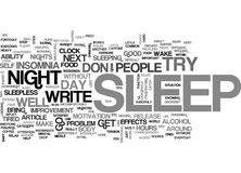 Are You Tired Of Insomnia Word Cloud Royalty Free Stock Photography