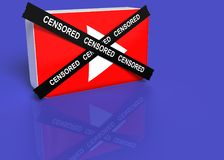 You tube logo with a black cross with the word censored royalty free stock image