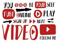 You tube player stickers for vlog, blogging or video channel buttons set. Vector illustration. Flat social media icons. Sign up, p royalty free illustration