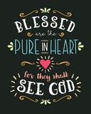 Blessed are the Pure in heart. Hand Lettering Typographic Vector Art Poster Beatitudes Design from Gospel of Matthew with Heart, light rays, and design royalty free illustration