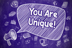 You Are Unique - Doodle Illustration on Blue Chalkboard. Royalty Free Stock Photos