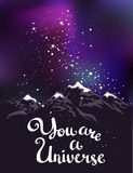You are a Universe. Hand drawn calligraphic vector. Stock Photos