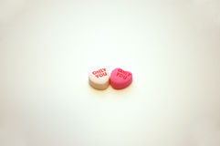 Only You Valentine's Day Conversation Hearts. A pair of Only You Valentine's Day candy conversation hearts stock photo