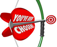 You've Been Chosen Bow Arrow Aiming at Selection Target. You've Been Chosen words on a 3d bow and arrow aiming at the selected target in a game or competition Royalty Free Stock Images