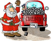 You've been a very bad boy!. This illustration depicts Santa Claus directing a coal truck driver where to empty his load Royalty Free Stock Images