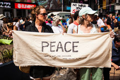 You Want A Peace Of Me?. New York City protest of Syrian invasion Royalty Free Stock Images
