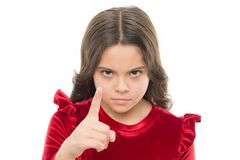 You are warned. Girl kid threatening with fist isolated on white. Strong temper. Threatening with physical attack. Kids. Aggression concept. Aggressive girl royalty free stock image