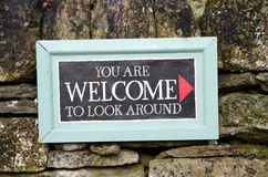 You are welcome to look around sign Royalty Free Stock Photos