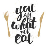 You are what you eat, modern ink brush calligraphy with splash. Vector card with hand drawn unique typography design element for greeting cards, decoration Stock Photo