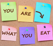 You are what you eat words on notes. You are what you eat words on colorful notes Royalty Free Stock Photo