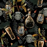 Watercolor seamless pattern on the theme of Halloween,. In it you will find all the fears of the world: a scolopendra, spiders, witch's potion in jars and stock illustration