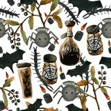 Watercolor seamless pattern on the theme of Halloween. In it you will find all the fears of the world: a scolopendra, spiders, witch's potion in jars and vector illustration