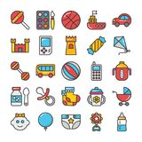 Baby and Kids  Colored Vector Icons 3 Royalty Free Stock Photography