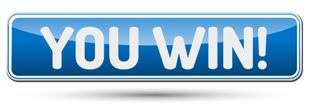 YOU WIN - Abstract beautiful button with text. Royalty Free Stock Photo