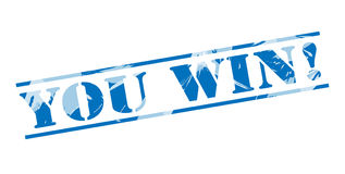 You win blue stamp. Isolated on white background Royalty Free Stock Photos