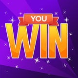You Win, congratulation bright and glossy banner with lettering Royalty Free Stock Photo